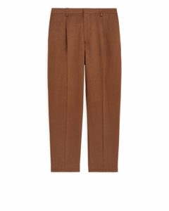 Regular Cotton-linen Trousers Brown