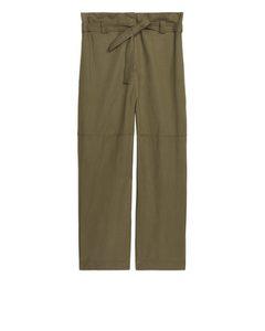 Flowy Paperbag Trousers Khaki Green