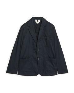 Utility Blazer Cotton Dark Blue