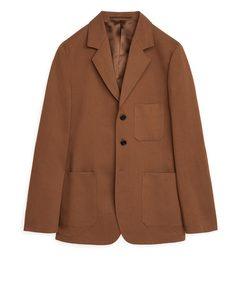 Cotton-linen Twill Blazer Brown