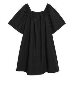 Square-neck Poplin Dress Black
