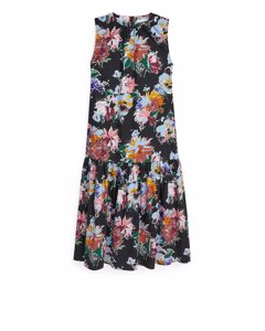 Drop-waist Printed Dress Black/floral