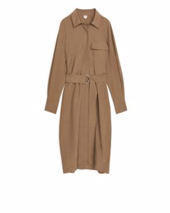 Lyocell Shirt Dress Dark Beige