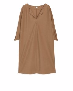 Wide-fit Batwing Dress Dark Beige