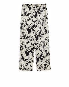 Floral Satin Trousers Light Beige/black