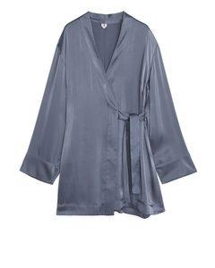 Satin Robe Steel Blue