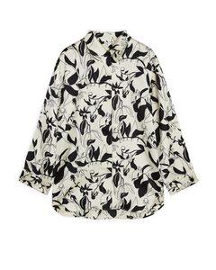 Floral Satin Shirt Light Beige/black