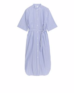 Fitted Shirt Dress White/blue
