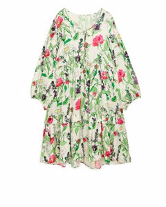 Hammered Satin Frill Dress Floral/off-white