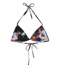 Halterneck Bikini Top Blue/floral