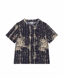 Printed T-shirt Dark Blue/beige