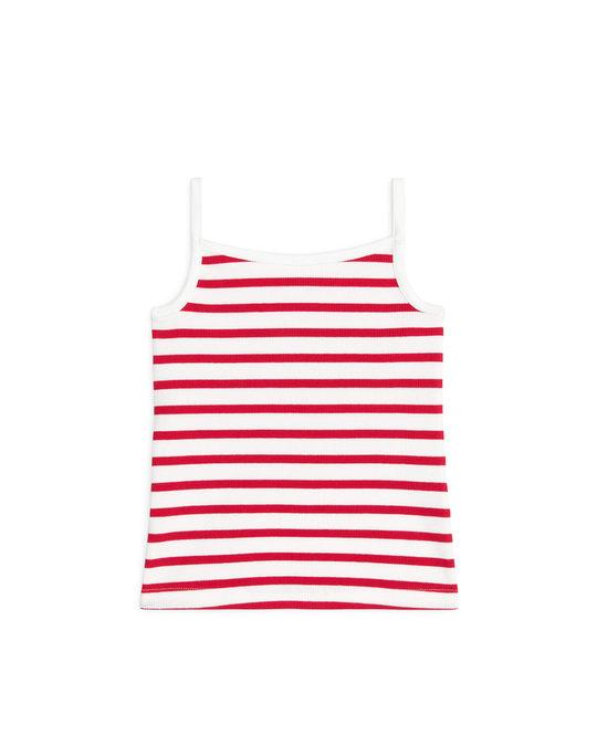 Arket Rib Strap Top Red/Off White