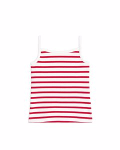 Rib Strap Top Red/off White