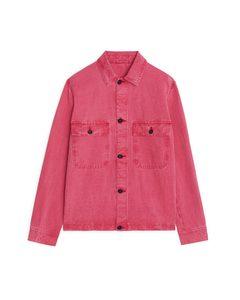 Linen Blend Utility Overshirt Red