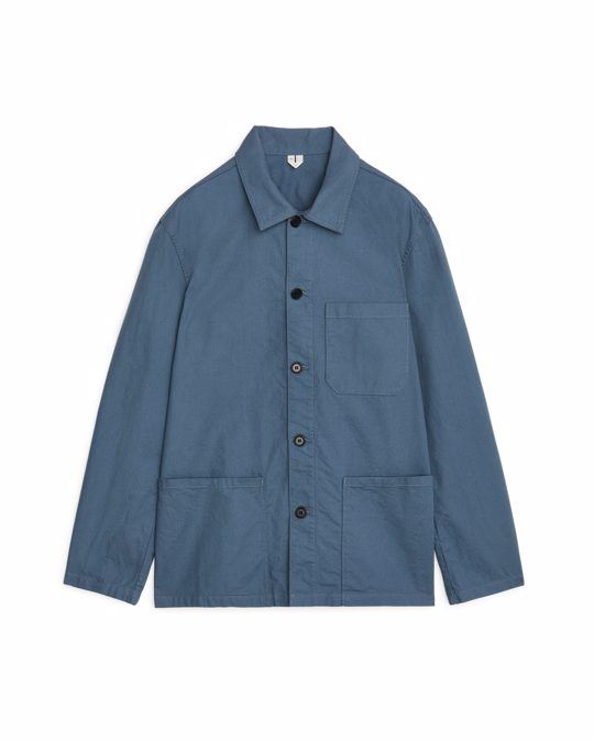 Arket Workwear Cotton Overshirt Blue