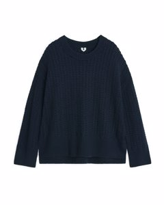 A-line Cable-knit Jumper Dark Blue