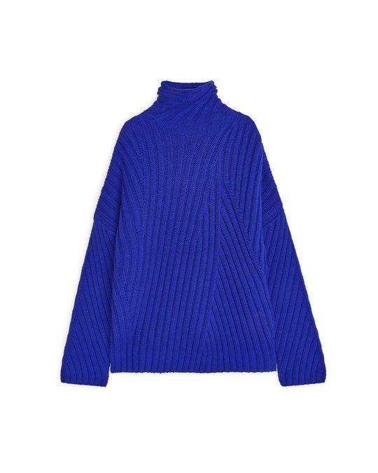 Arket Ribbed Wool Nylon Jumper Blue