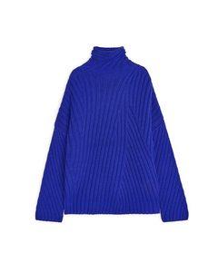 Ribbed Wool Nylon Jumper Blue