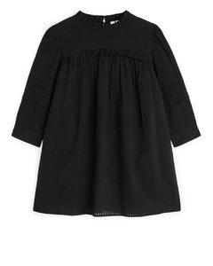 Seersucker Frill Dress Black