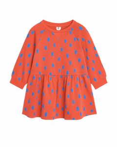 French Terry Dress Orange/blue