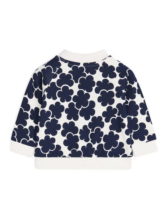 Arket Polka Dot Sweatshirt Jacket Off White/Dark Blue