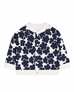 Printed Sweatshirt Jacket Off White/dark Blue