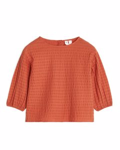 Seersucker Blouse Dark Orange