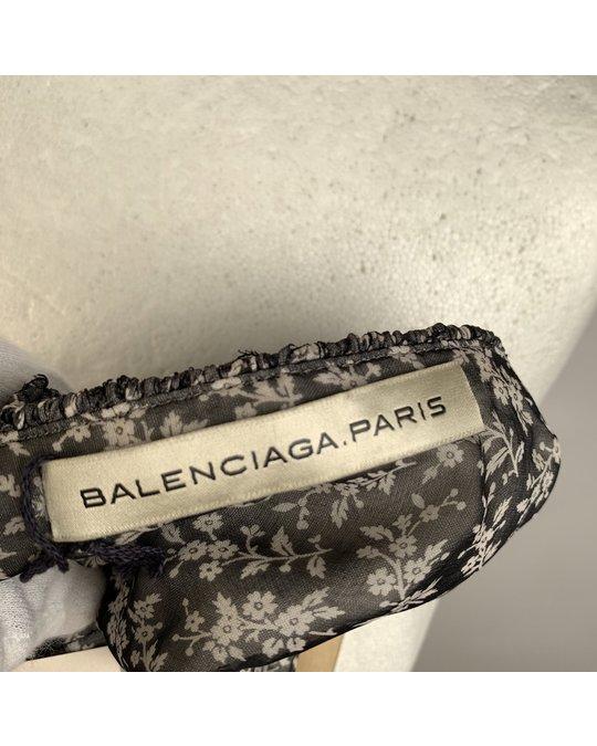 Balenciaga Balenciaga Grey Textured Mesh Cami Top With Floral Panel Size 38