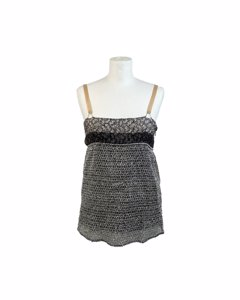 Balenciaga Grey Textured Mesh Cami Top With Floral Panel Size 38