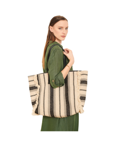 Striped Shopping Bag Beach Beach - Bag