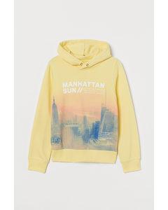 Hoodie mit Druck Hellgelb/Manhattan