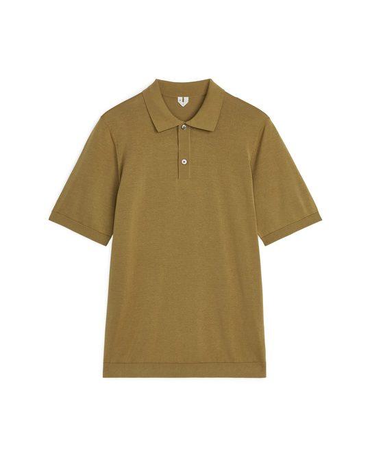 Arket Cotton Silk Polo Shirt Dark Beige