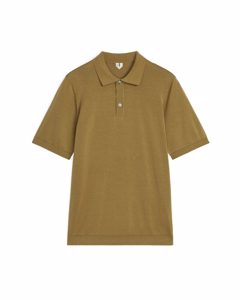 Cotton Silk Polo Shirt Dark Beige