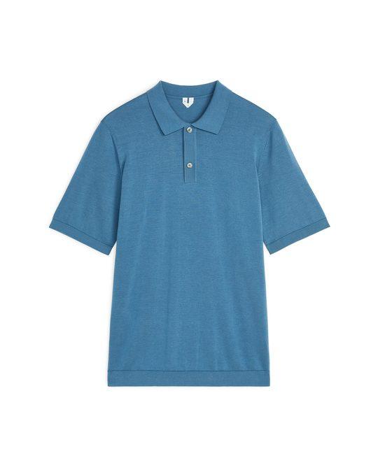 Arket Poloshirt aus Baumwollseide Stahlblau