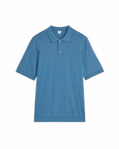 Cotton Silk Polo Shirt Steel Blue