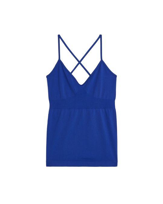 Arket Seamless™ Yoga-Oberteil mit gekreuzten Trägern Blau