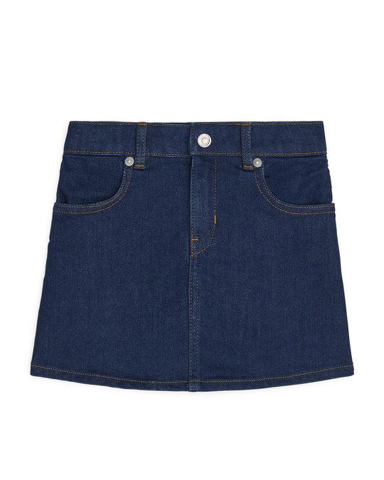 Arket Denim Stretch Skirt Dark Blue