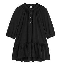 Jersey Frill Dress Black