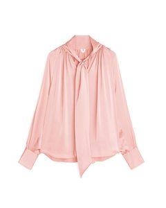 Satin Bowtie Blouse Pink