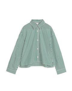 Cropped Poplin Shirt Green/white