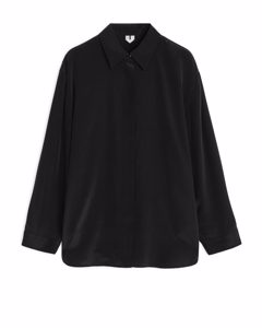 Relaxed Silk Shirt Black
