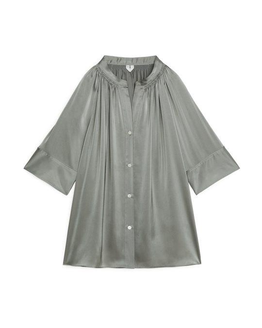 Arket Short-Sleeve Satin Blouse Grey