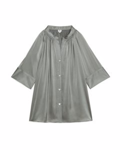 Short-Sleeve Satin Blouse Grey