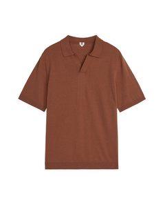 Cotton Linen Polo Shirt Brown