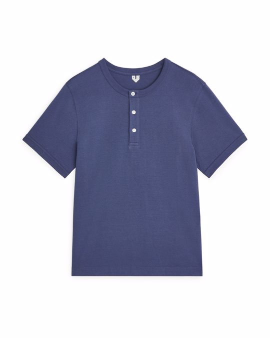 Arket Heavyweight Henley T-Shirt Blue
