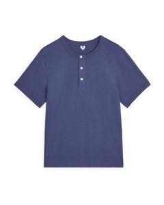 Henley-T-Shirt aus schwerem Material Blau