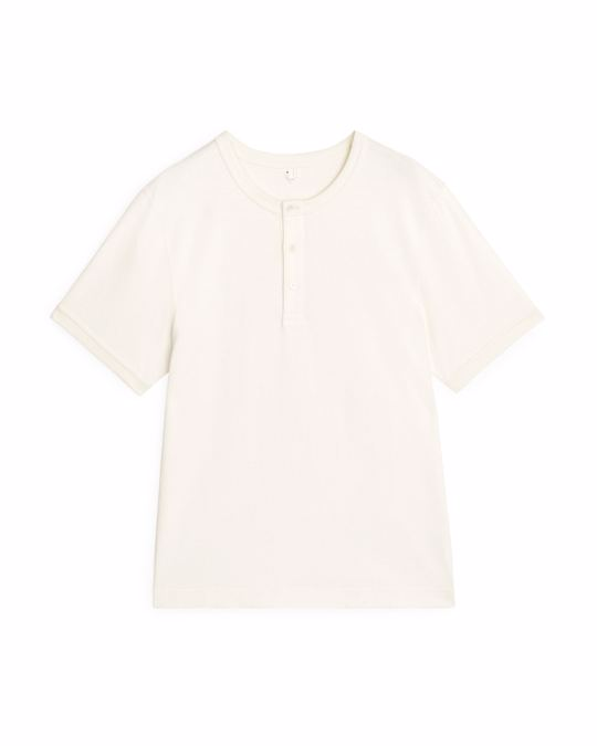 Arket Heavyweight Henley T-Shirt White