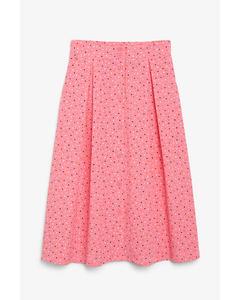 Pleated midi skirt Pink confetti print