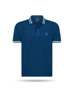 Pierre Cardin Striped Collar Polo Blau