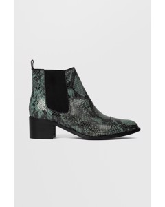 Biacarol Print Leather Chelsea  Dark Green Snake